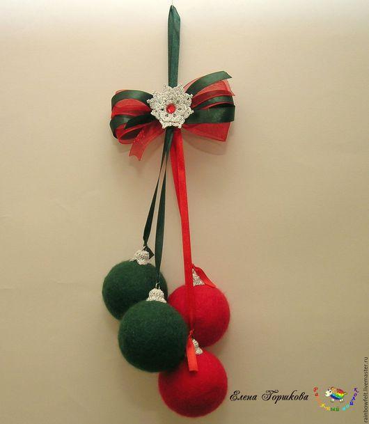 Шарики валяные новогодние, гроздь шариков, новогодний декор, купить или заказать на Ярмарке Мастеров