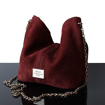 Сумки и аксессуары ручной работы. Ярмарка Мастеров - ручная работа Красно-терракотовая замшевая сумочка-мешок, сумка замшевая. Handmade.