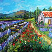 Картины и панно handmade. Livemaster - original item Lavender bee farm in Provence oil painting. Handmade.