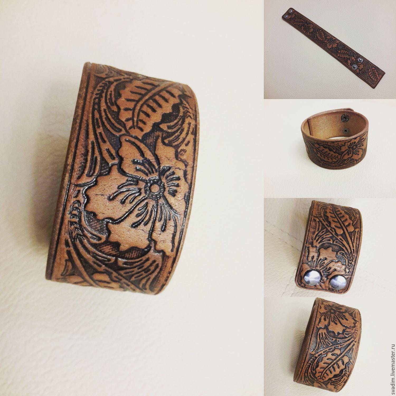 Кожанный браслет на руку, Браслет из бусин, Омск,  Фото №1