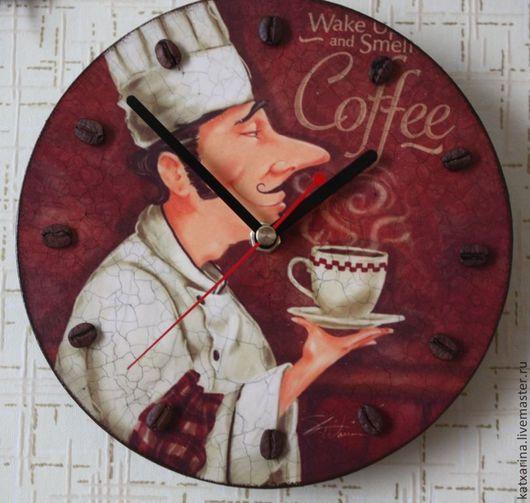 """Часы для дома ручной работы. Ярмарка Мастеров - ручная работа. Купить Часы """"Coffeе"""". Handmade. Коричневый, часы декупаж"""
