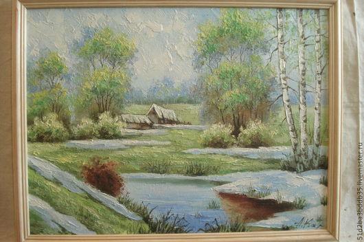 Пейзаж ручной работы. Ярмарка Мастеров - ручная работа. Купить Начало весны. Handmade. Картина, картина маслом, пейзаж