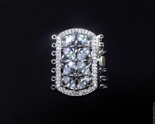 """Для украшений ручной работы. Ярмарка Мастеров - ручная работа. Купить Замок """"Diamant"""" инкрустированный цирконами серебристый 26х43 мм. Handmade."""