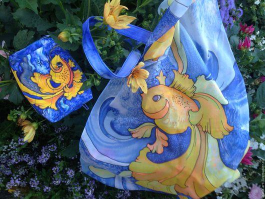 Женские сумки ручной работы. Ярмарка Мастеров - ручная работа. Купить Комплект сумочка шарф Золотая Рыбка. Handmade. Комбинированный