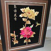 """Винтаж handmade. Livemaster - original item Панно """"Пионы"""",  ручная работа, соломка,  Китай. Handmade."""