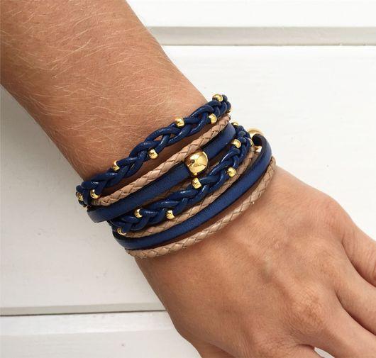 Браслеты ручной работы. Ярмарка Мастеров - ручная работа. Купить Кожаный браслет намотка, бежево-синий с золотом. Handmade.