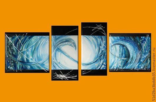 Абстракция ручной работы. Ярмарка Мастеров - ручная работа. Купить Вода. Handmade. Голубой, вода, холст масло