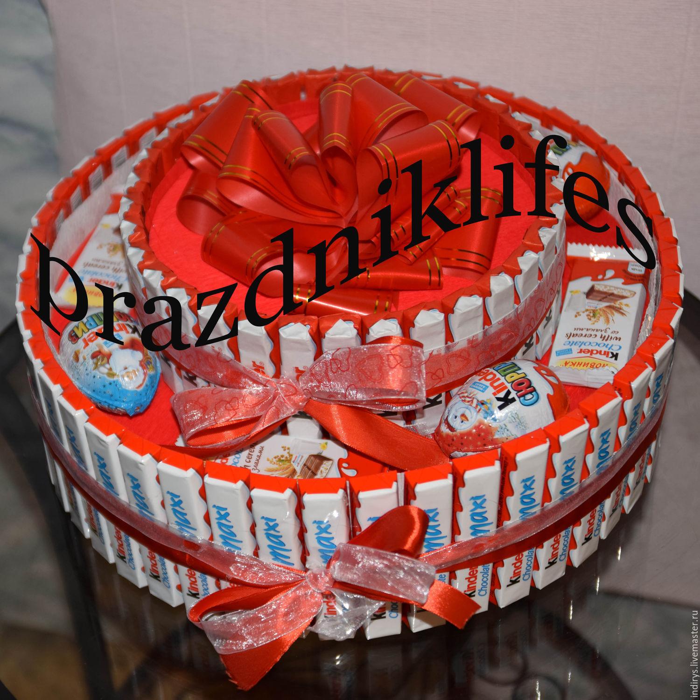 Как сделать торт и подарки из киндеров и шоколадок, рафаэлло, чупа
