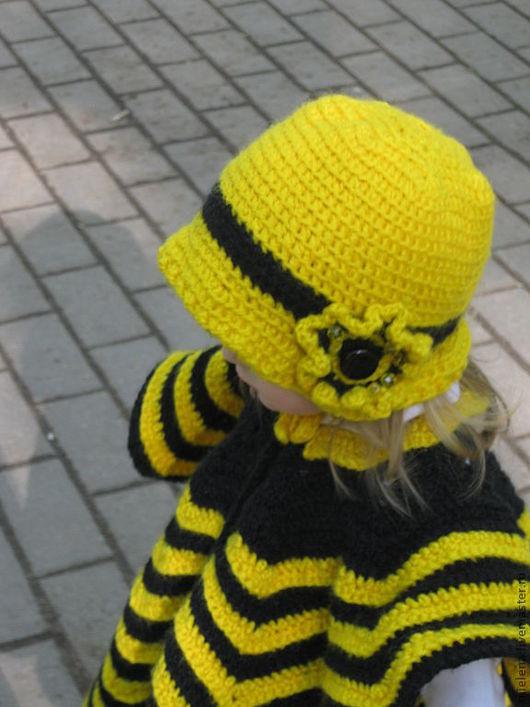 Шарфы и шарфики ручной работы. Ярмарка Мастеров - ручная работа. Купить Пончо и шляпка «Пчелка». Handmade. Шляпка вязаная