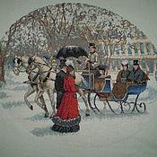 Картины и панно ручной работы. Ярмарка Мастеров - ручная работа Зимнее Впечатление вышитая картина. Handmade.