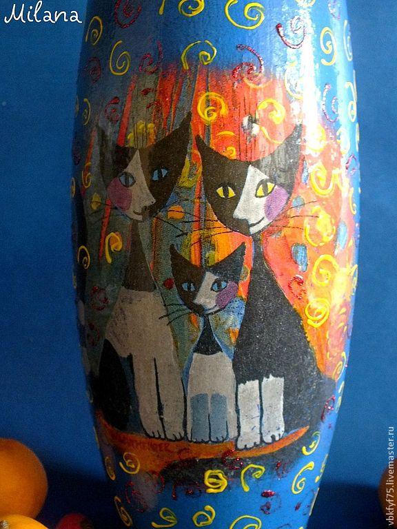 "Ваза ""Кошки Розины"" Вазы.Декупаж. Стеклянная ваза. Синяя ваза"