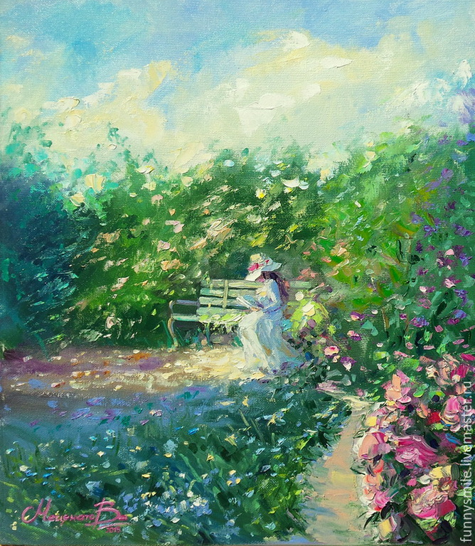 Oil painting on canvas, 35/40. The girl on the bench, Pictures, Moscow,  Фото №1