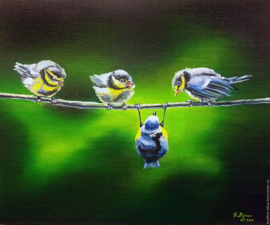 Животные ручной работы. Ярмарка Мастеров - ручная работа. Купить Птички. Handmade. Ярко-зелёный, веселый, картина маслом