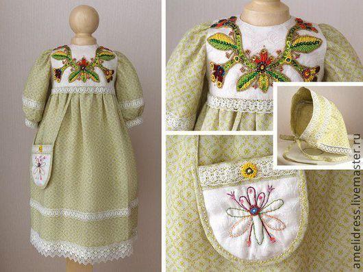 Одежда для девочек, ручной работы. Ярмарка Мастеров - ручная работа. Купить нарядное платье. Handmade. Оливковый, орнамент, нарядное платье