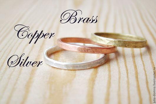 Кольца ручной работы. Ярмарка Мастеров - ручная работа. Купить Набор из Трех Колец - серебро, медь, латунь - тройное кольцо. Handmade.