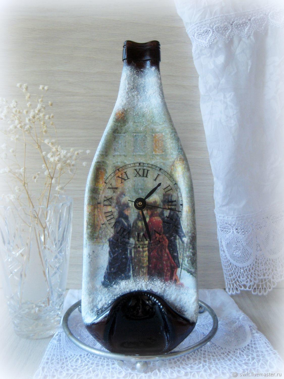 Часы бутылка настенные Зимний вечер, декупаж, для дома интерьера, Кукольные домики, Вольск,  Фото №1