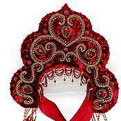 Русский стиль handmade. Livemaster - original item Russian fashion kokoshnik Red and gold traditional headdress. Handmade.