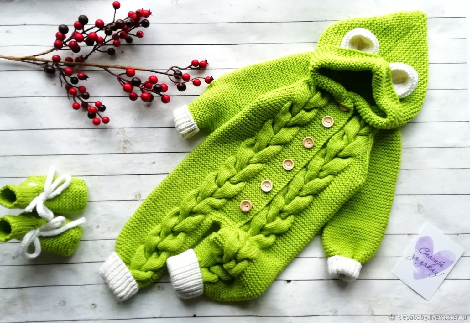 Knitted jumpsuit for baby with ears, Overall for children, St. Petersburg,  Фото №1