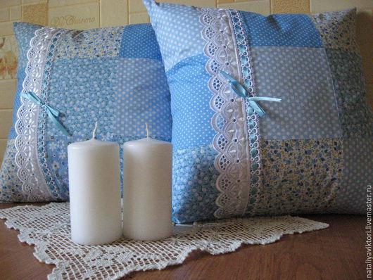 """Текстиль, ковры ручной работы. Ярмарка Мастеров - ручная работа. Купить """"Прованс в голубом"""" Комплект подушечек в стиле пэчворк. Handmade."""