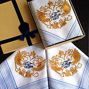 Аксессуары handmade. Livemaster - original item Handkerchief Suite. monogram initials monogram eagle. Handmade.