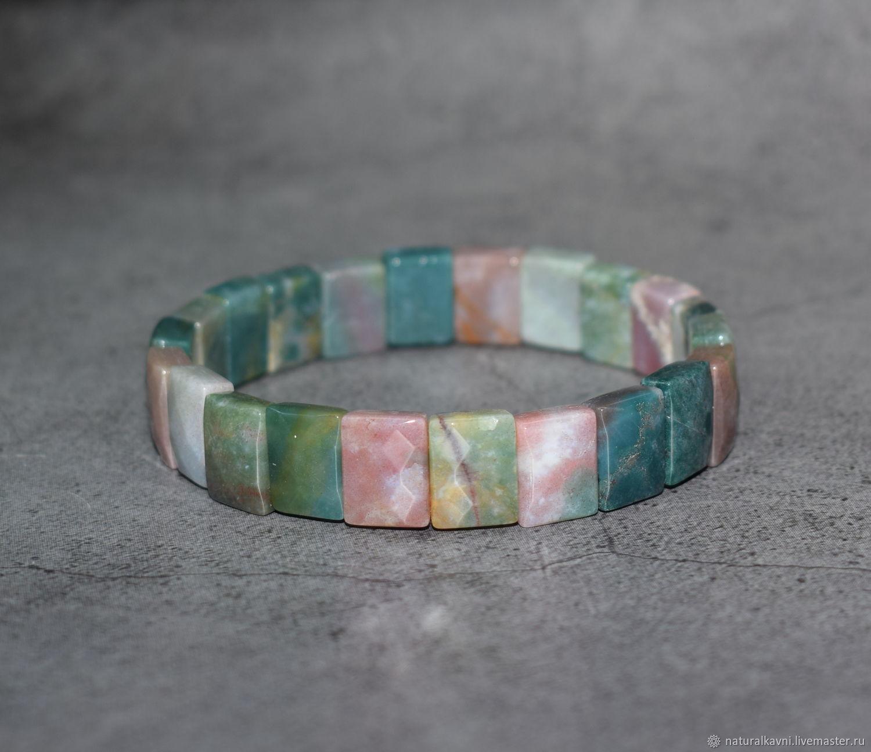 Natural moss agate cut bracelet, Bead bracelet, Moscow,  Фото №1