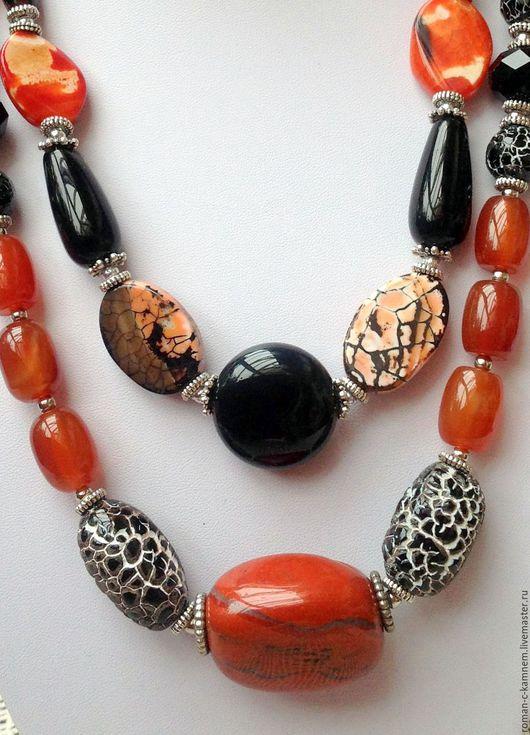 Комплект украшений из натуральных камней в восточном, африканском стиле Замбия. Черно-оранжевая цветовая гамма. Эффектное , стильное, экзотическое украшение.