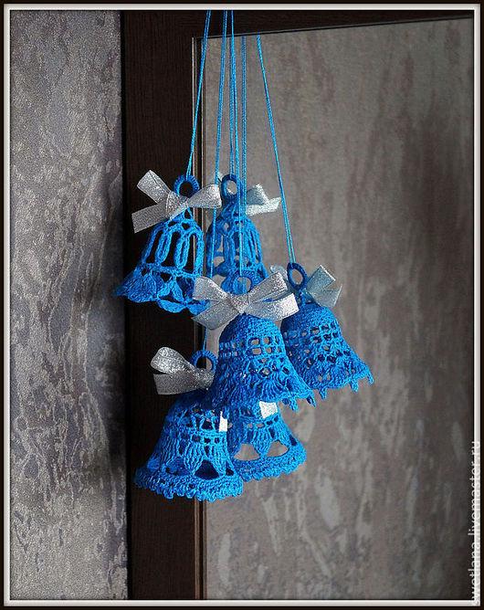 Новый год 2017 ручной работы. Ярмарка Мастеров - ручная работа. Купить Вязаные колокольчики синие. Handmade. Синий, украшения для интерьера