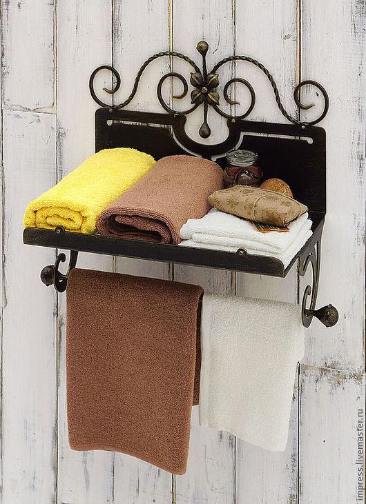 Ванная комната ручной работы. Ярмарка Мастеров - ручная работа. Купить полка для банных полотенец. Handmade. Чёрно-белый, дача