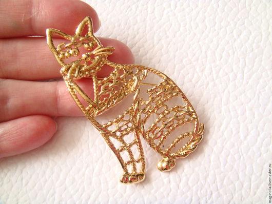 Винтажные украшения. Ярмарка Мастеров - ручная работа. Купить 56 Большая винтажная брошь Кот Кошка  США. Handmade.