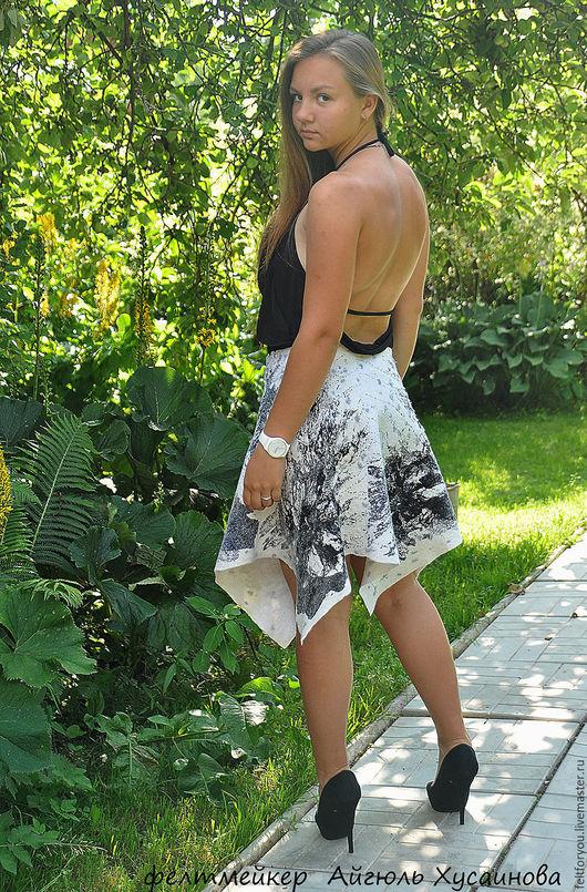 """Юбки ручной работы. Ярмарка Мастеров - ручная работа. Купить Авторская валяная юбка """"Черное и белое"""". Handmade. Чёрно-белый"""