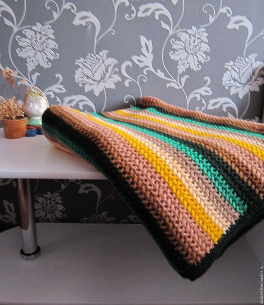 Текстиль, ковры ручной работы. Ярмарка Мастеров - ручная работа. Купить Плед-покрывало большой Осень. Handmade. Тёмно-зелёный, коричневый