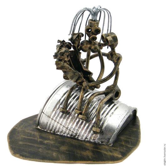 """Миниатюрные модели ручной работы. Ярмарка Мастеров - ручная работа. Купить """"Жестяная"""" свадьба. Handmade. Сувенир из гаек, скульптуры из металла"""