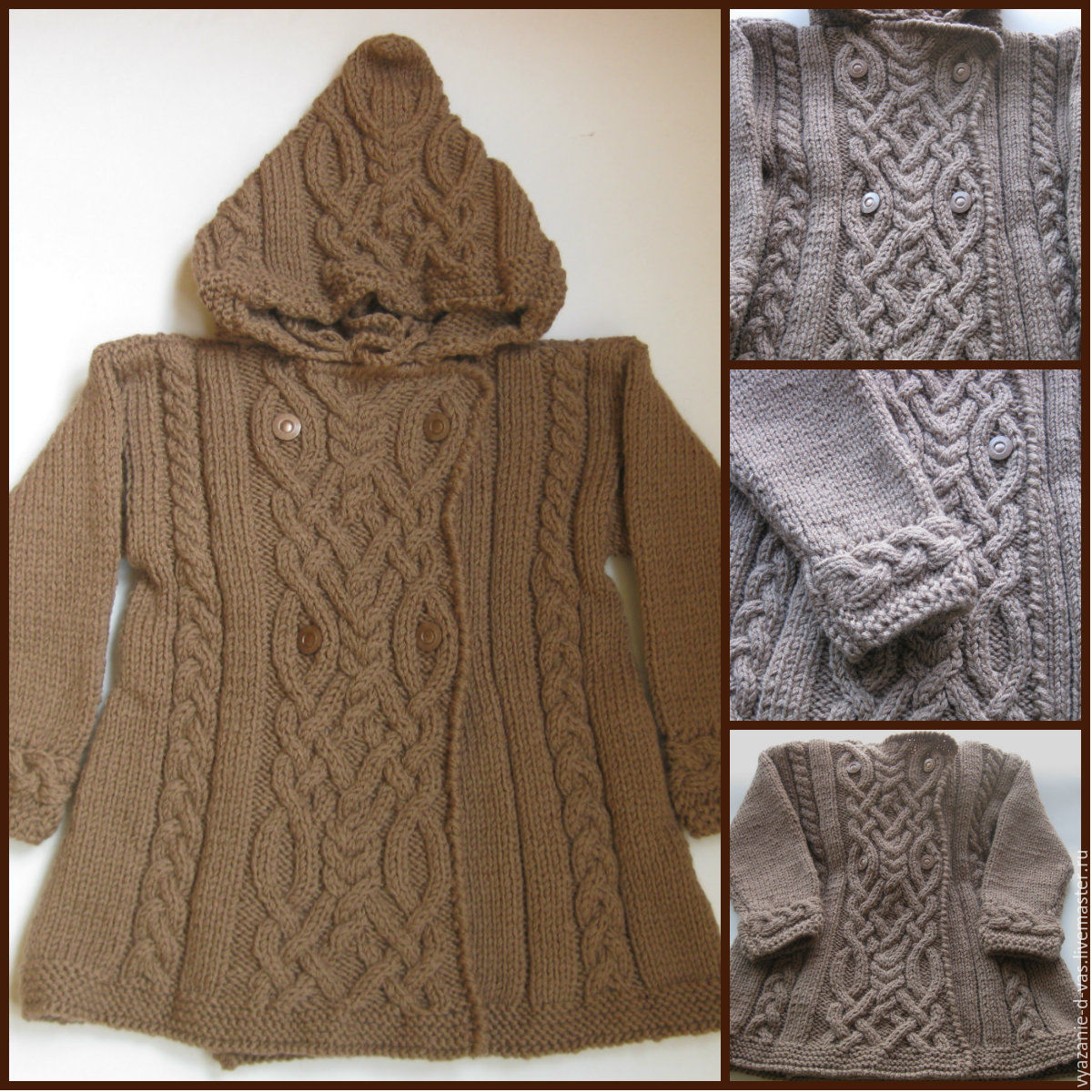 Knitted coat with hood for girl of wool for 2 years aran for Outer cloth