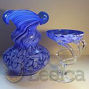 Винтаж handmade. Livemaster - original item Vase and vase blue glass vintage Czechoslovakia. Handmade.