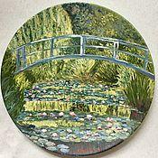 Посуда handmade. Livemaster - original item Plates: Decorative plate, oil painting. Bridge Of Giverny. Handmade.