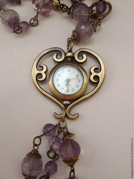 Часы ручной работы. Ярмарка Мастеров - ручная работа. Купить Аметистовое время -часы-подвеска (аметист и аметрин). Handmade. Сиреневый