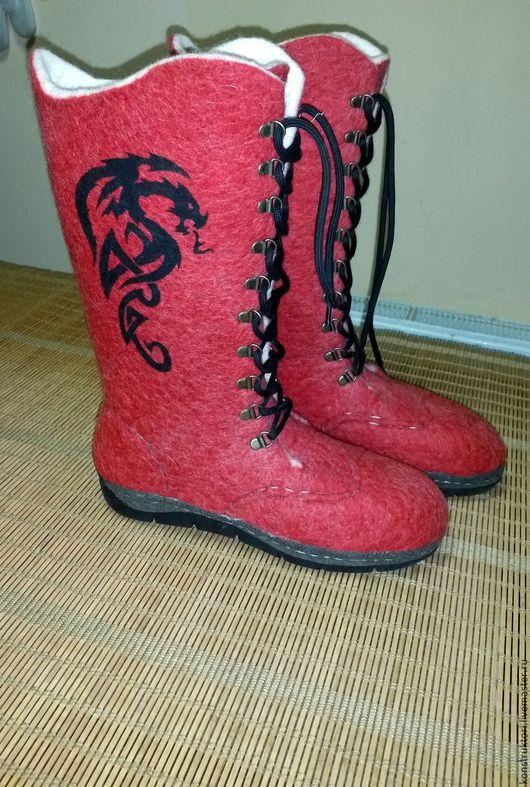 Обувь ручной работы. Ярмарка Мастеров - ручная работа. Купить Валенки с драконами. Handmade. Ярко-красный, валенки ручной валки