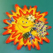 Для дома и интерьера ручной работы. Ярмарка Мастеров - ручная работа Панно из дерева Летнее солнышко. Handmade.
