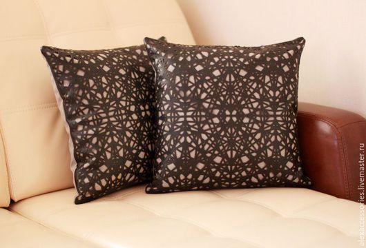 """Текстиль, ковры ручной работы. Ярмарка Мастеров - ручная работа. Купить Подушка из кожи """"Нити"""" (черная). Handmade. Черный"""