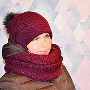 Аксессуары handmade. Livemaster - original item Set double hat for women with pompom Snood