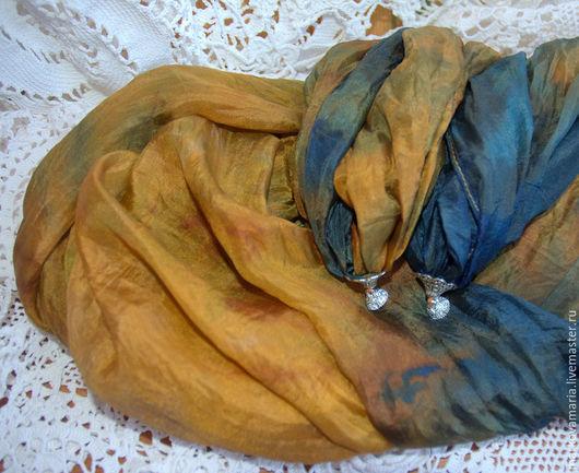 """Шарфы и шарфики ручной работы. Ярмарка Мастеров - ручная работа. Купить Шелковый шарф """"Осень"""" ручная роспись батик. Handmade."""