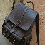 Men\\\`s backpack handmade. Livemaster - original item Men`s large leather backpack Easy Life. Handmade.