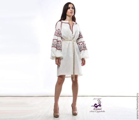 """Платья ручной работы. Ярмарка Мастеров - ручная работа. Купить Вышиванка роскошная """"Белый лен"""" с вышивкой в любых цветах. Handmade."""