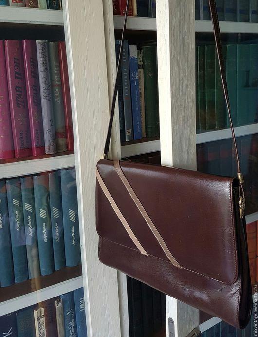 Винтажные сумки и кошельки. Ярмарка Мастеров - ручная работа. Купить Винтажная кожаная сумка Горячий Шоколад, Англия. Handmade. Коричневый
