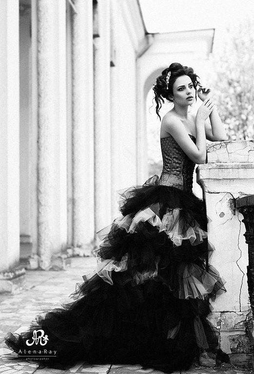 Одежда и аксессуары ручной работы. Ярмарка Мастеров - ручная работа. Купить Черное свадебное платье. Handmade. Черное свадебное платье