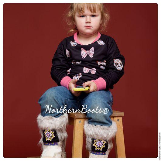 Обувь ручной работы. Ярмарка Мастеров - ручная работа. Купить медвежата детские. Handmade. Белый, голубая норка, мама, эксклюзив