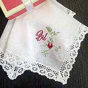 handmade. Livemaster - original item Handkerchief women`s Batiste lace monogram. Handmade.