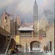 Pictures handmade. Livemaster - original item Winter day. Holland. 40h50smrama. Handmade.