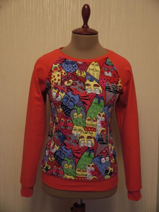 Кофты и свитера ручной работы. Ярмарка Мастеров - ручная работа. Купить Скидка 20 % от цены Свитшот с котами. Handmade.