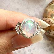 Кольцо с Опалом в серебре 925 пробы